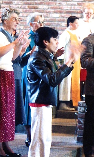 Alberto was part of Marian's ASL class and joined the group to sign in church.