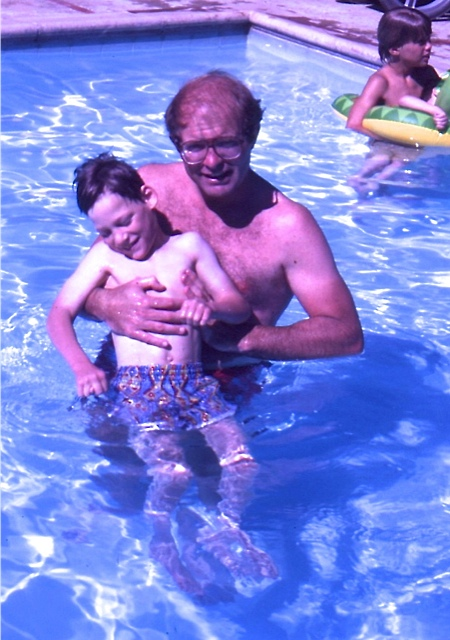 Donald cooling off in the pool with a friend