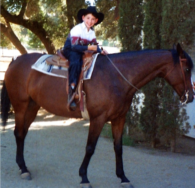 Dustin so happy on a horse. He has to work very hard to balance