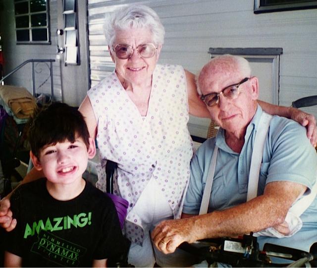 Dustin visiting Grandma and Granddad Aiken in Arizona.