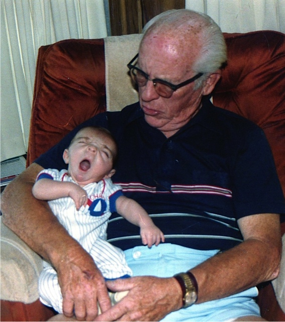 Ilan meets Granddad Aiken. What better place to take a nap than on Granddad's lap?