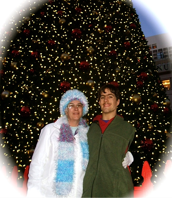 Kolya and his friend Beth in San Francisco at Christmas time