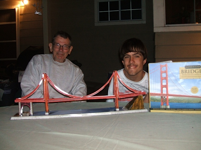 Here is Kolya with our cousin Carl. They spent hours making this model of the Golden Gate Bridge