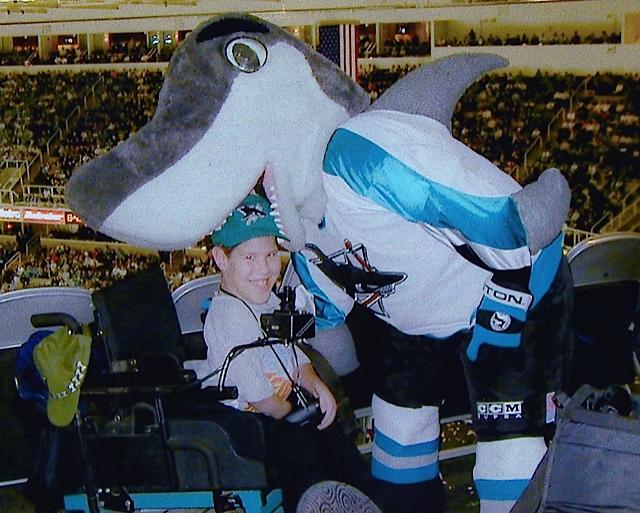 Kyle being eaten by Sharkie (San Jose Sharks mascot)