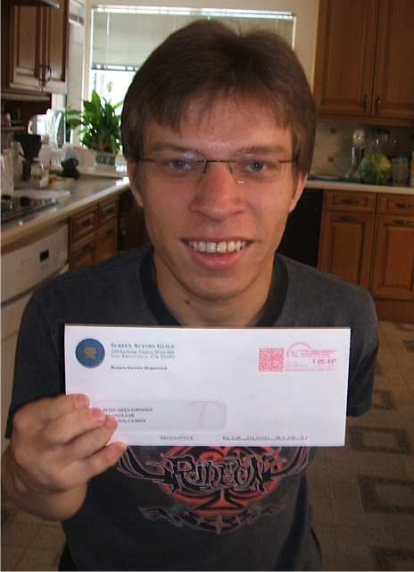 Peter's first pay check from Screen Actors Guild