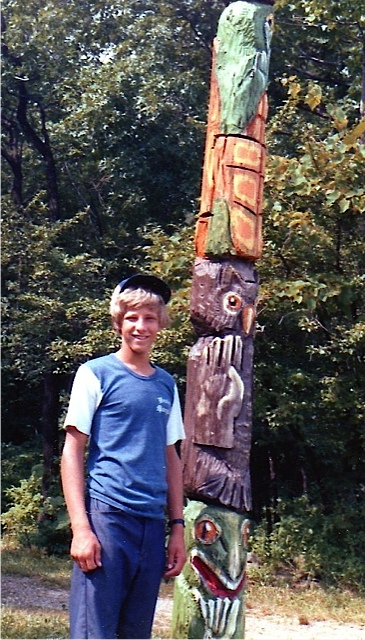 Rossie by a totem pole in Arizona