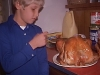 Rossie drooling over the turkey