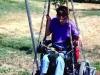 Sean on a wheelchair swing at school.