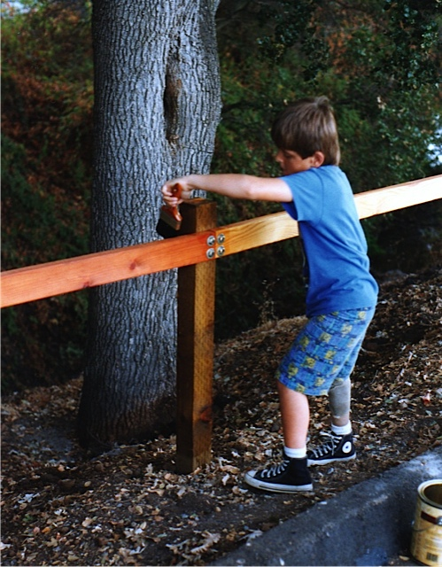 Sergei volunteering with a friend constructing a safety rail for his Eagle scout project